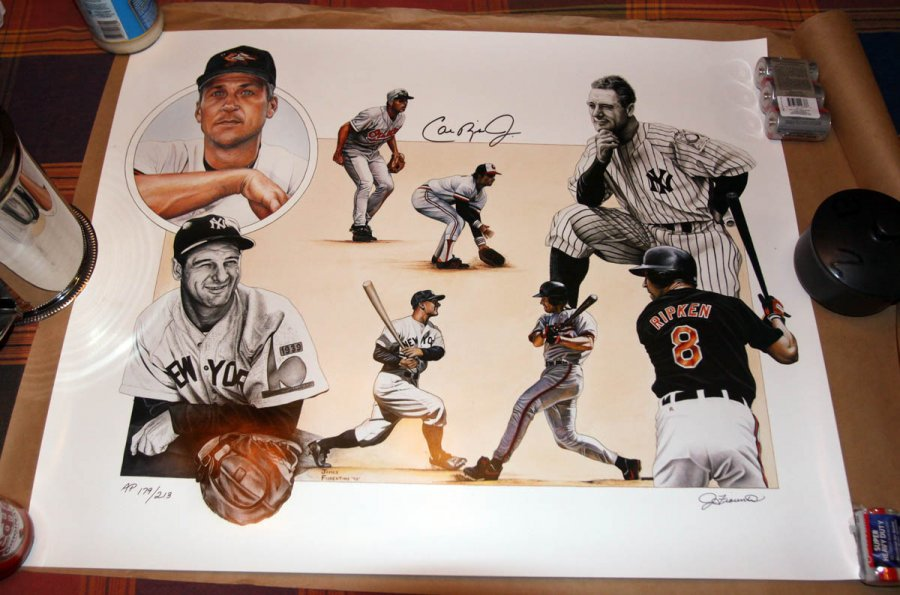 What's 'Cal Ripken Lou gehrig lithograph by James Fiorentino' Worth? Picture