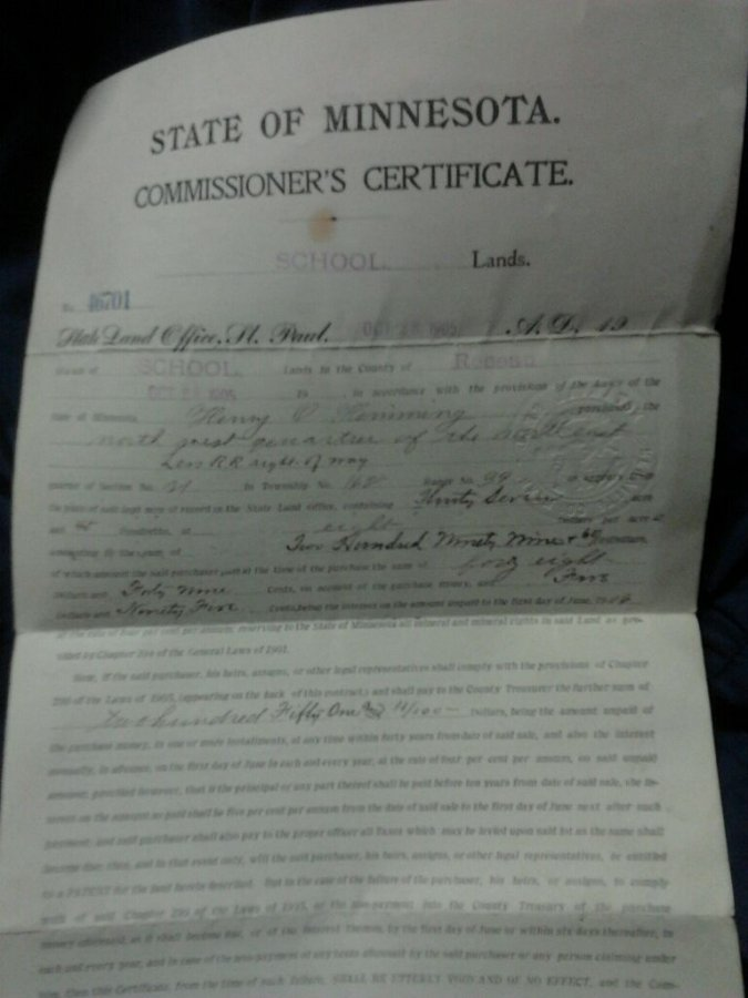 What's '1904 school lands patent' Worth? Picture