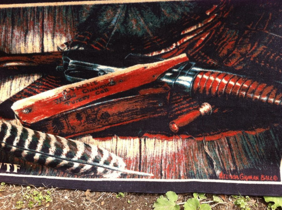 What's 'Bound rug 31/2 x 51/2 by Melissa Gayman Ball of Lynch turkey call, shotgun, shell. With NTWF on it' Worth? Picture