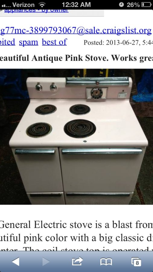What's 'Vintage pink stove' Worth? Picture
