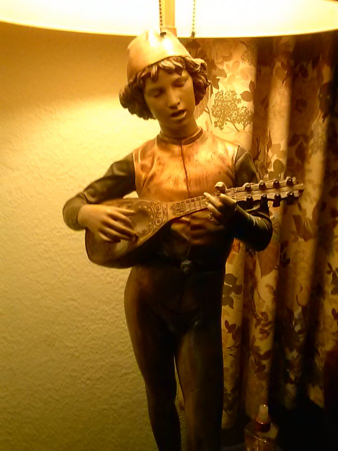 What's ' antique lamp. by b. dubois of a mandolin player ' Worth? Picture