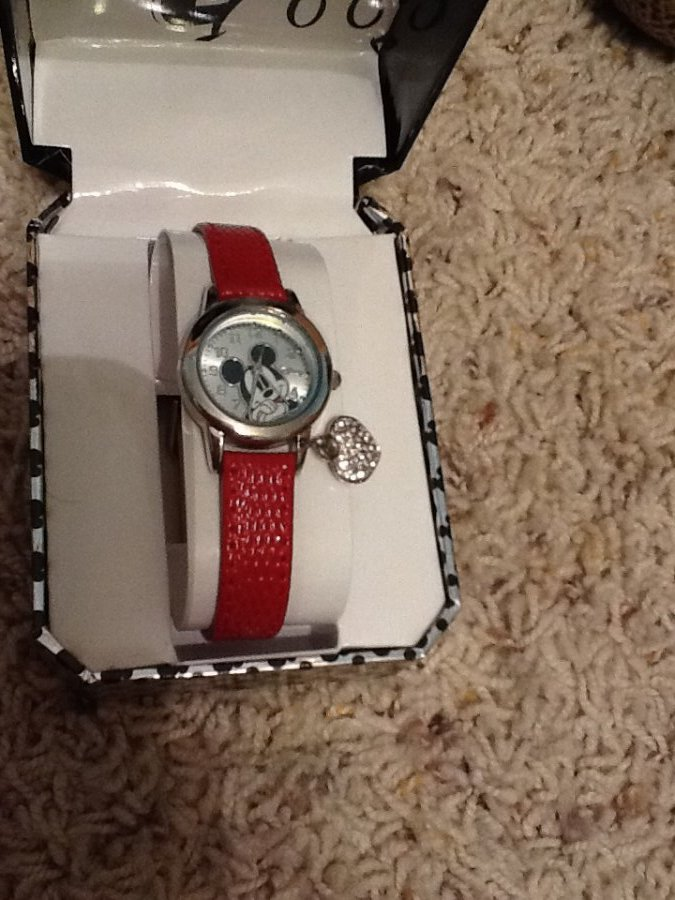 What's 'Red band Mickey Mouse watch with charm attached' Worth? Picture