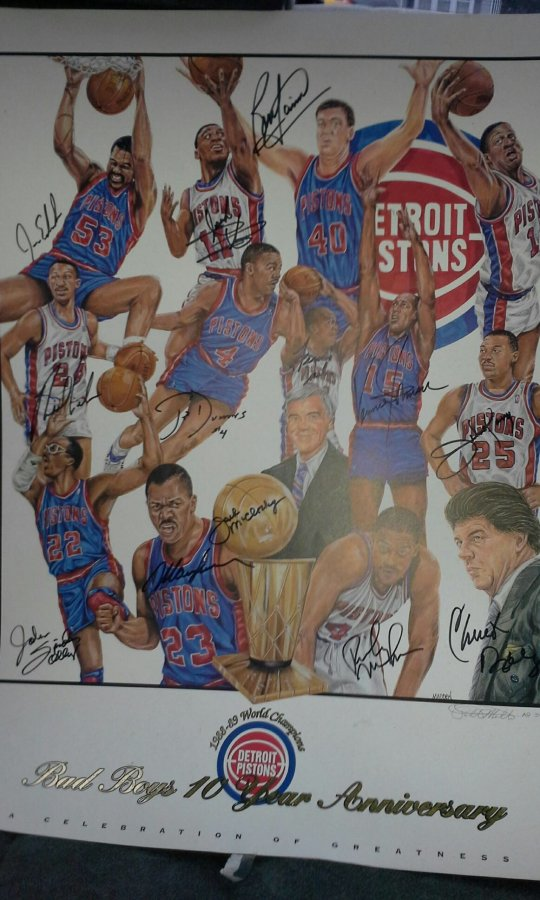 What's '1988-89 Detroit Pistons World Champions Bad Boys 10 year anniversary poster' Worth? Picture