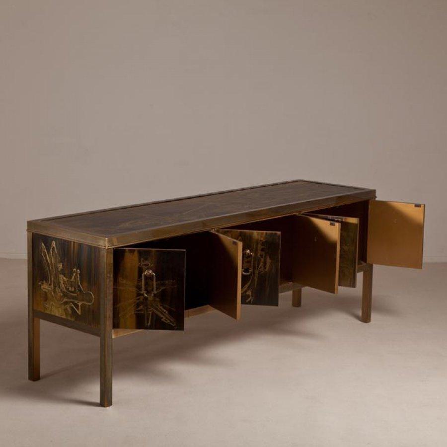 bernard rohne Acid Etched Six Door Brass Mastercraft designed Cabinet 1970s' Worth? Picture