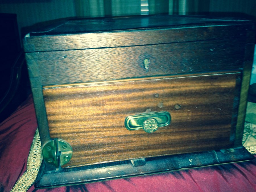 What's 'Wood cash box with bell' Worth? Picture