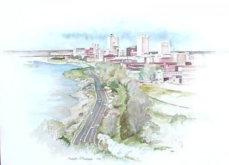 What's 'memphis t missisippi 28x24 print of memphis riverside drive signed and numbered 714/1500 dated 1981' Worth? Picture