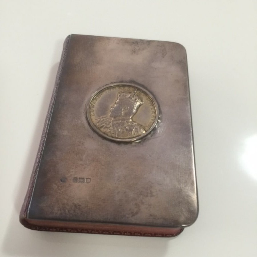 What's 'a souvenir of King Edward VII Queen Alexandra Coronation Hymn book 1902 metal cover' Worth? Picture