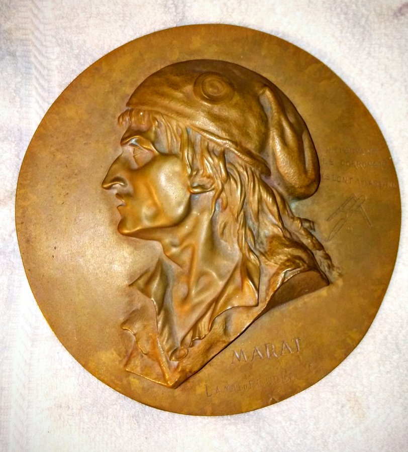 French Antique Bronze Plaque of Jean-Paul Marat of the French Revolution. Antique Portrait Wall Plaque. Picture