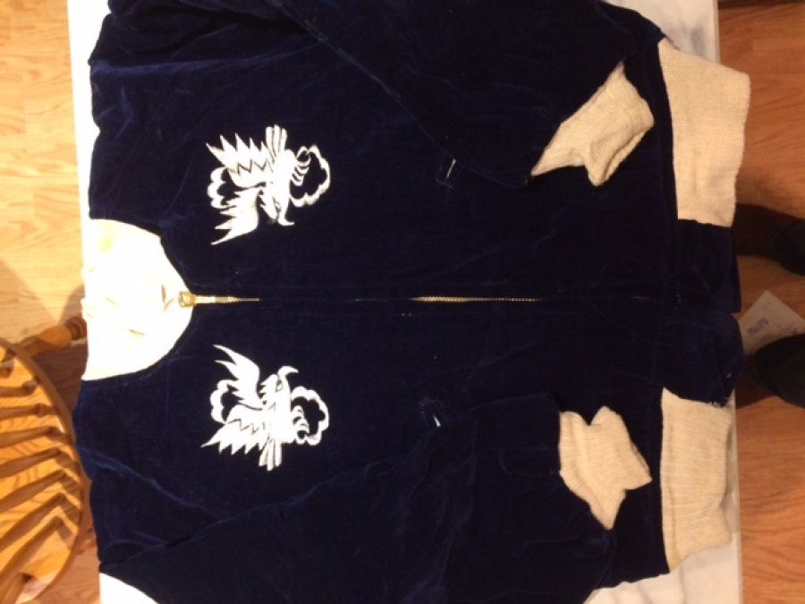 What's 'Korea war Japan embroider child's blue velveteen jacket?' Worth? Picture