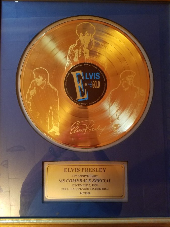 What's 'Elvis Presley 25 anniversary '68 comeback special gold record in frame' Worth? Picture