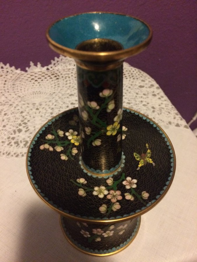 What's 'Cloisonné brass vase with 3 sections' Worth? Picture