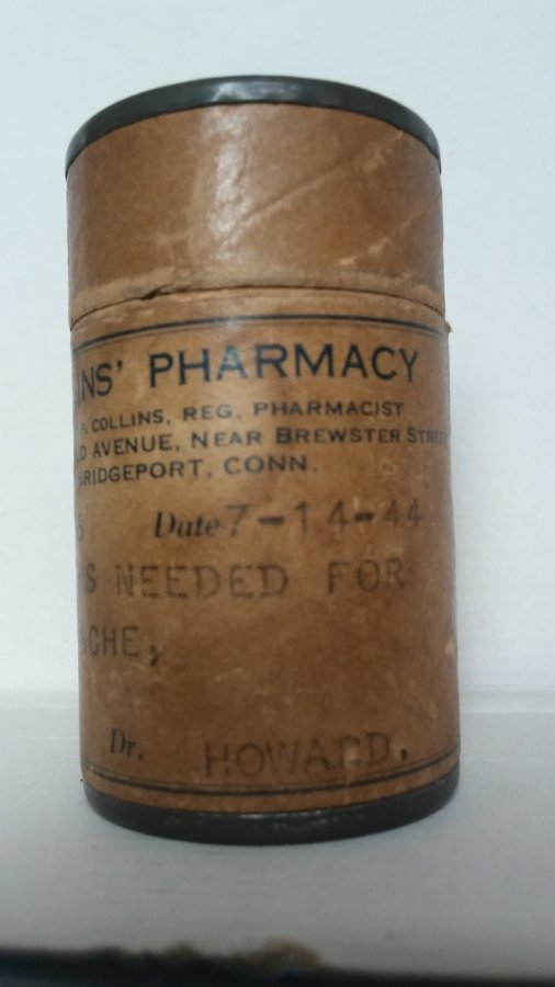What's a 1944 cardboard pill bottle worth? Picture