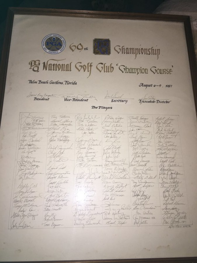 What's 'PGA 1987 69th championship, players sign in sheet ' Worth? Picture