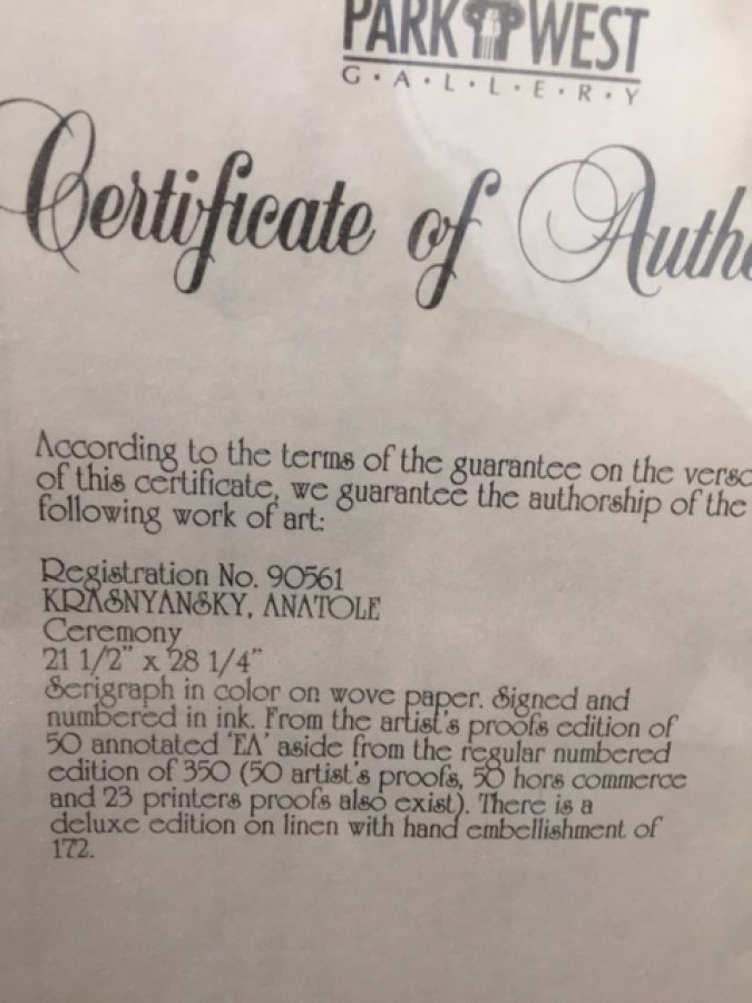 What's 'Krasnyansky ceremony serigraph ' Worth? Picture