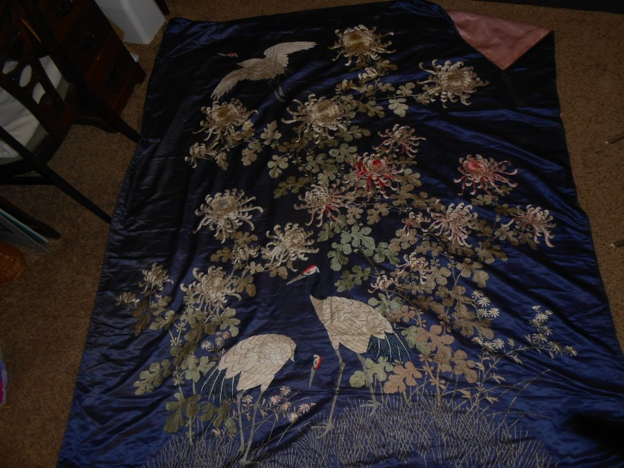What's 'vintage silk bed spread with crane and flower design' Worth? Picture