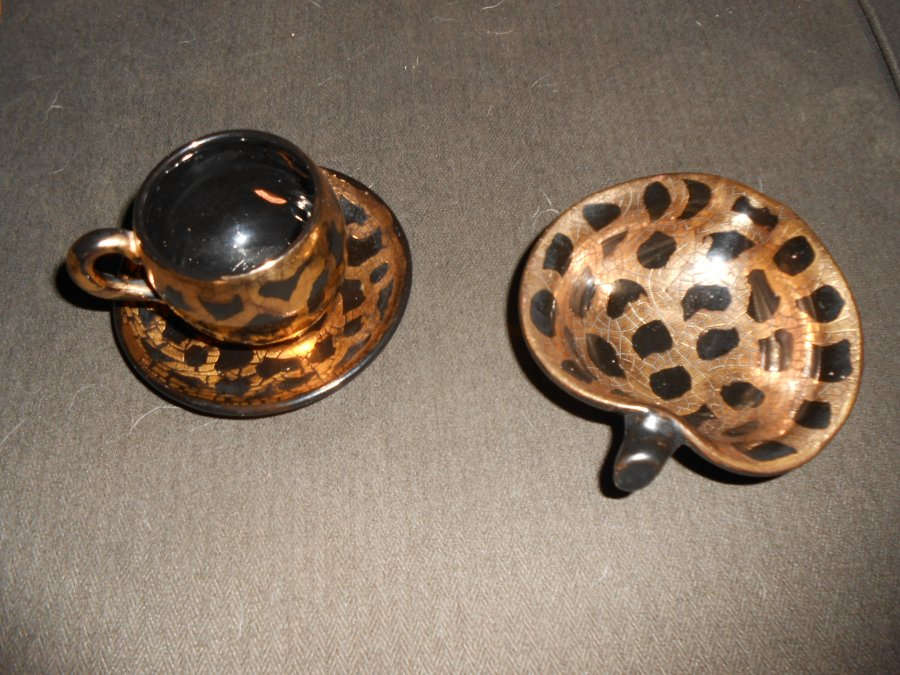Small hand-made Ceramic Cup & Saucer and Candy Dish Picture