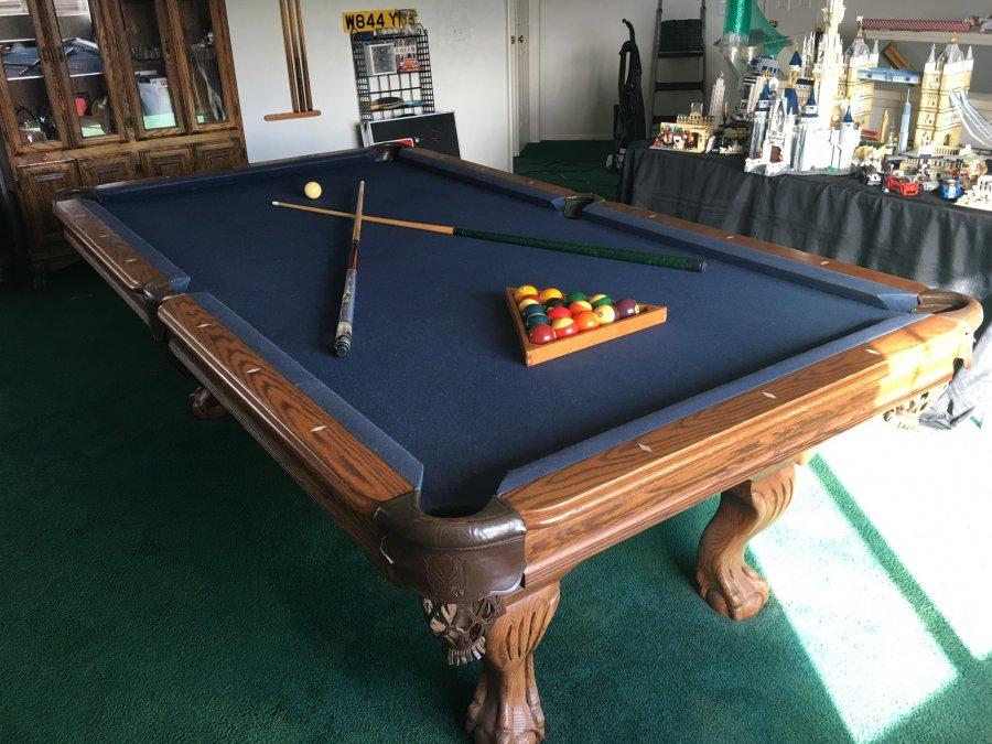 Hardwood Pool Table blue felt top Picture