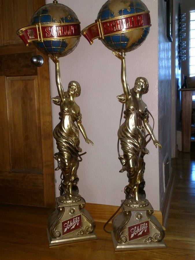 What's 'Vantage Schlitz bar light gold lady holding a globe' Worth? Picture