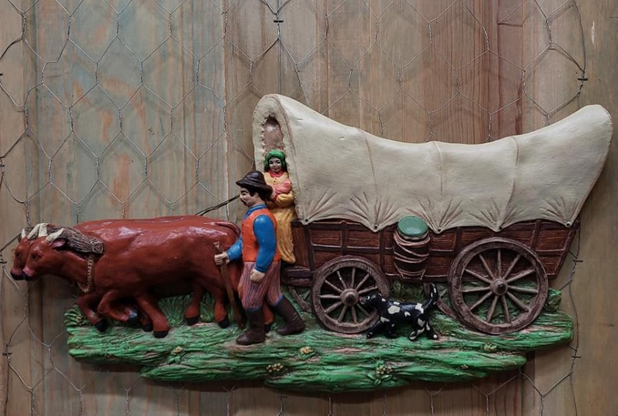 What's 'Large Rustic Primitive Vintage Chalkware Plaster wagon with oxen' Worth? Picture